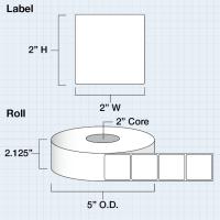 """Papier Hochglanz Etikett 2x2"""" (5,08 x 5,08 cm) 1000 Etiketten pro Rolle 2""""Kern"""