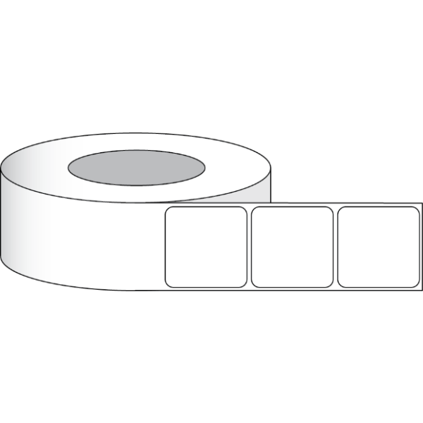 """Papier Hochglanz Etikett 3x3"""" (7,62 x 7,62 cm) 700 Etiketten pro Rolle 2""""Kern"""