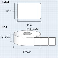 "Papier Hochglanz Etikett 3x2"" (7,62 x 5,08 cm) 1000..."
