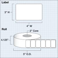 """Poly Clear Gloss Eco Etiketten, 4"""" x 3"""" (10,16 x 7,62 mm), 675 Etiketten pro Rolle, 2"""" Kern"""