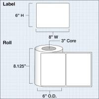 """Papier Hochglanz Etikett 8x6"""" (20,32 x 15,24 cm) 425 Etiketten pro Rolle 3""""Kern"""