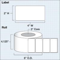"Papier Hochglanz Etikett 4x2"" (10,16 x 5,08 cm) 1250..."