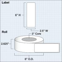 "Papier Hochglanz Etikett 2,5x6"" (6,35 x 15,24 cm)..."
