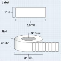 """Papier Hochglanz Etikett 3x1"""" (7,62 x 2,54 cm) 2375 Etiketten pro Rolle 3""""Kern"""
