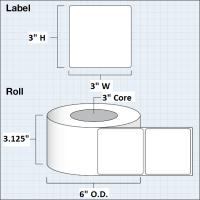 """Papier Hochglanz Etikett 3x3"""" (7,62 x7,62 cm) 850 Etiketten pro Rolle 3""""Kern"""