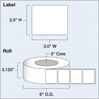 """Papier Hochglanz Etikett 3x2,5"""" (7,62 x 6,35 cm) 1000 Etiketten pro Rolle 3""""Kern"""