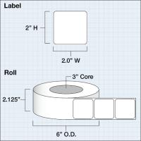 "Paper Matte 51 x 51 mm (2"" x 2"" ) 1250 Etiketten"