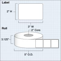 "Paper Matte 76 x 51 mm (3"" x 2"" ) 1250 Etiketten"